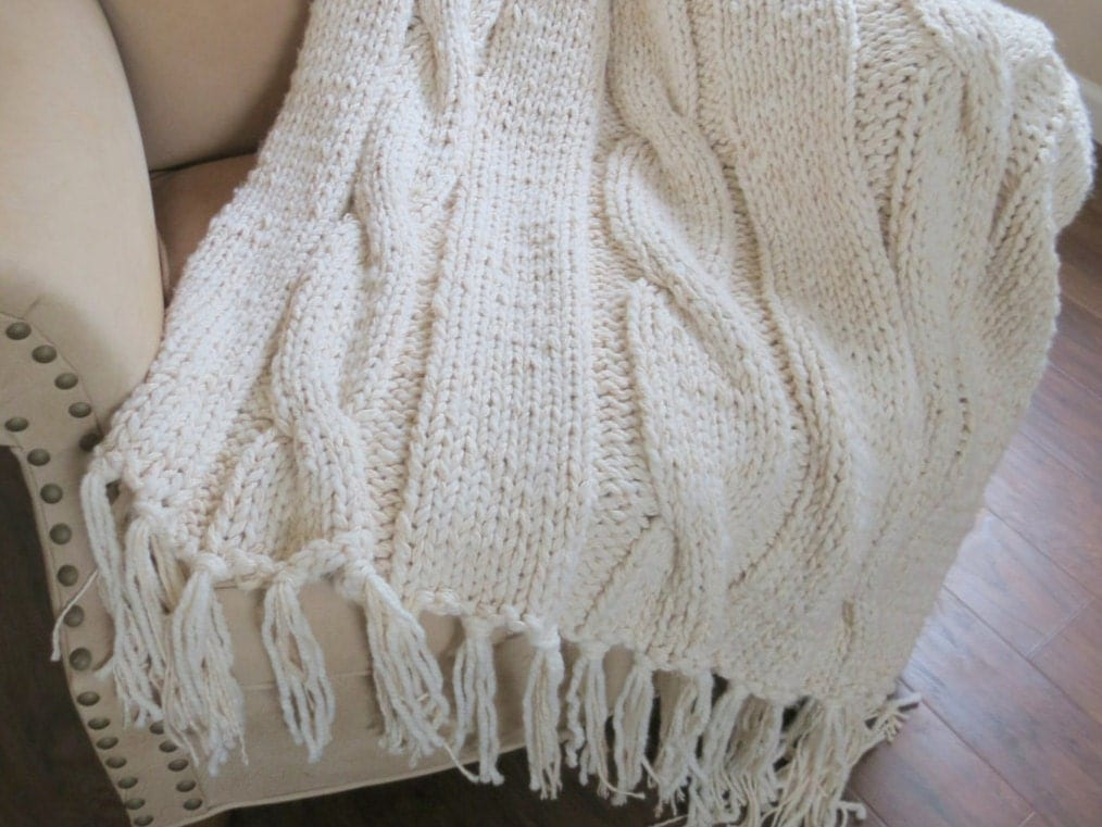 Chunky Knit Throw Pattern : Knit Blanket Pattern Chunky Blanket Pattern Chunky Knit