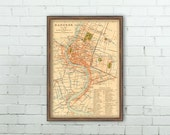 Bangkok map - Old map of Bangkok , Thailand  - Archival reproduction