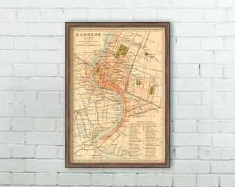 Bangkok map - Old map of Bangkok , Thailand  - Archival reproduction