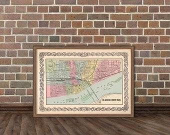 "Harrisburg map - Antique  Harrisburg (Pennsylvania)  city map Print - 14 x 20"""