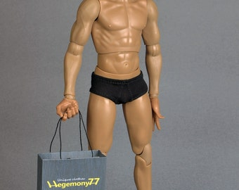 1/6th scale black underwear for: male action figures and fashion dolls