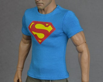 1/6th scale blue Superman T-shirt for: male action figures and fashion dolls