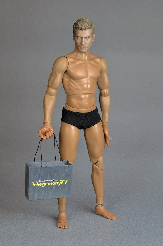 1/6th scale black men's underwear for: regular size action figures and male fashion dolls