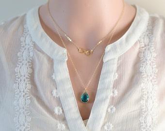 Gold Two Layer Necklace - Sideways Infinity Minimalist   Blue Zircon December Birthday