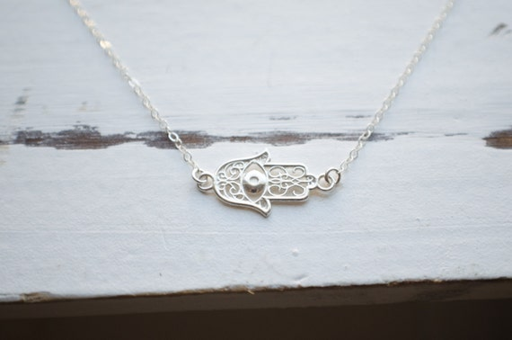 Hamsa Hand Necklace | Sideways Fatima Modern Jewelry | Protection Necklace | Sterling Silver
