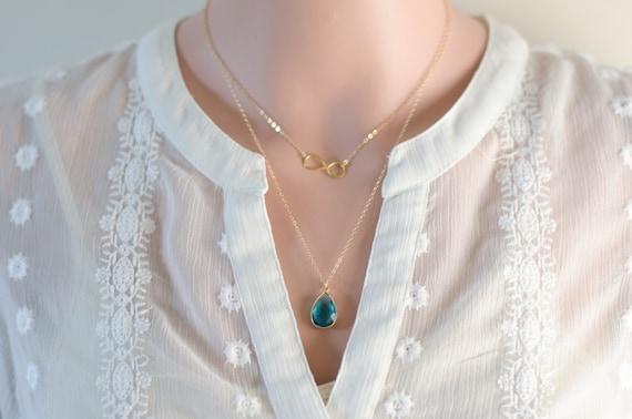 Gold Two Layer Necklace - Sideways Infinity Minimalist | Blue Zircon December Birthday
