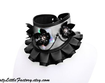 Silver Chameleon Iridescent Silver Star and Black PVC Collar with Cyber Flowers