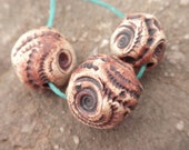 Quarry- handmade ceramic rustic fossil inspired tribal bead set in rusty sienna 9221