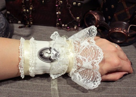 Steampunk Keyhole Single Wrist Cuff -- Ready to Ship, Size S -- Ivory, Cream, and Antique Silver