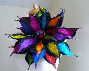 felted flower, large flower, flower corsage, felted flower brooch, handmade, lagenlook, black, rainbow, merino wool, MADE TO ORDER