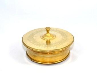 Vintage Brass Dish Brass Dish with Lid Brass Bowl Brass Container Etched Brass Dish Brass Lidded Pot Brass Caddy