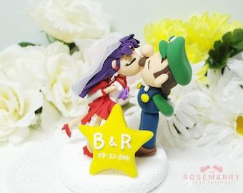 Custom Cake Topper - Mars & Luigi Couple