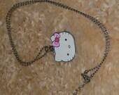 Hello Kitty Pendant Necklace Vintage Sanrio Enamel Pendant Choker 90s