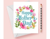 Mother's Day Greeting Card, Floral Watercolor Mother's Day Card