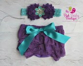 Baby Bloomers - Baby Lace Bloomer Set Newborn Headband and Bloomers Newborn Photo Outfit Cake smash outfit-Newborn Ruffle Diaper cover