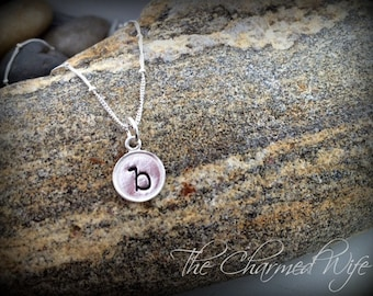 Tiny Initial Necklace - Sterling Silver Saturn Chain - Hand Stamped Jewelry - Custom Necklace - The Charmed Wife - Initial Jewelry -