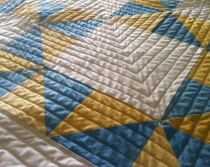 """Hand Dyed Organic Quilt 36"""" x 54"""" Crib Sized Quilt - Sunny Rhinos Backing"""