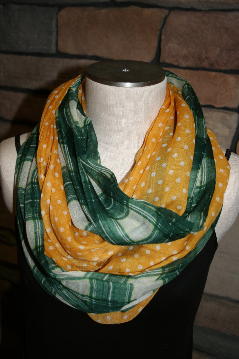 green and gold plaid polka dot print infinity scarf chunky