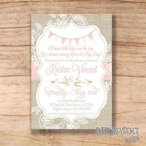 burlap baby shower invitation pink burlap by sweetprovidence