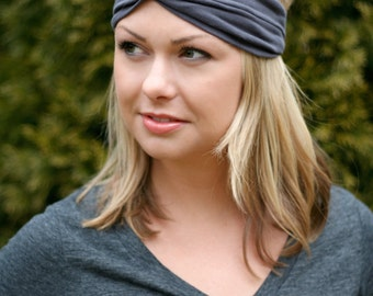 Charcoal Grey Knit Turban Wrap Headband