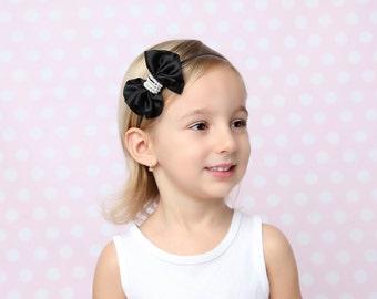 Black Satin Bow with Pearl Center on Skinny Elastic, Newborn Headband, Baby Photo Props, Newborn Photo Shoot