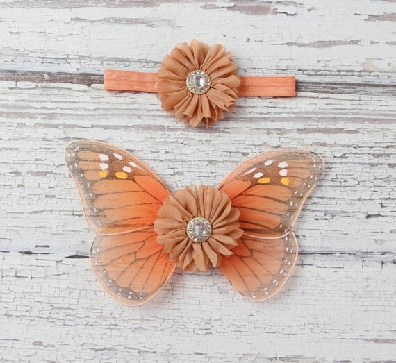 Butterfly wings, Monarch baby wings and/or matching headband for newborn photos, photo prop, newborn photographers