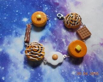 Breakfast Charm Bracelet, Kawaii, Food, Grunge
