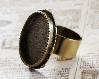 Antiqued Brass Oval Large Bezel Ring 25x18mm Adjustable for Mixed Media Resin or Crystal Clay