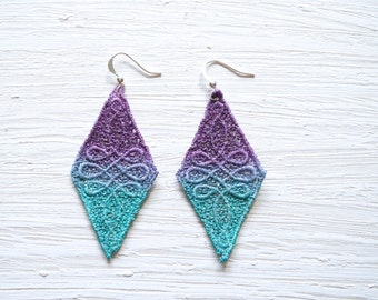 Ombre Lace Earrings in Teal Green and Purple