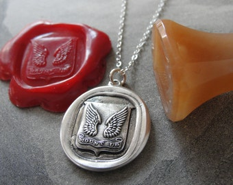 Protection Wax Seal Necklace Wings - Mount Up - antique wax seal jewelry in silver by RQP Studio