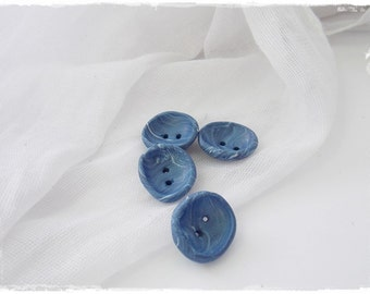 Pastel Blue Buttons, Polymer Clay Buttons, Oval Clay Buttons, Round Abstract Buttons, Aqua Blue Baby Buttons, Handmade Artistic Clay Buttons