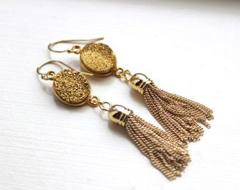 Gold Druzy Tassel Earrings - Gold Druzy Jewelry - Gold Tassel Jewelry - Trendy Statement Jewelry Earrings - Gold Druzy Tassel Accessories