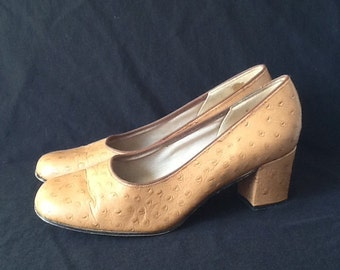 UK 4 Vintage 1960s tan brown leather court shoes Ostrich pumps EU 37 US 6