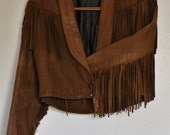 Vintage festival leather fringe jacket - Size S/M
