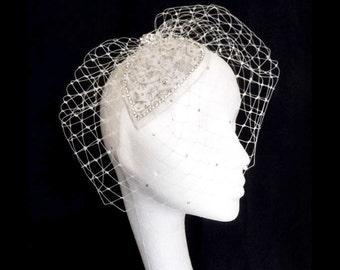 Crystal Birdcage Veil ~ bridal head piece