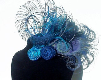Blue Peacock Feather and Silk Rosette Hair Clip ~ head piece