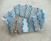Wide cuff Bead woven bracelet, Blue Bracelet beadwoven, handmade beaded jewelry, Beaded Bracelets