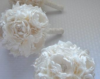 Fabric Bouquet - Medium Size- Bridesmaid Bouquet - Pure Cream - Fabric Flowers, Fabric Bouquet, Heirloom Bouquet, Pure Cream