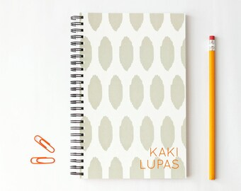 Personalized Notebook Grey Ikat Pattern Journal Custom Note Book Gray and Orange School Supplies Tribal Print Office Gifts Monogram Book