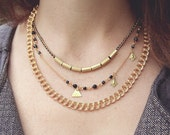 layer necklace - Black necklace - 3 layers necklace - black and gold statement necklace - black and gold necklace
