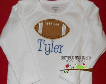 Boy's Football Long Sleeve Bodysuit with Monogram Sizes NB-18M