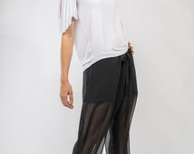CLEARANCE SALE Black Chiffon See-through Pants with built in shorts