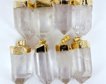 Crystal Quartz Point Pendant with Gold Electroplate WHOLESALE PRICING 1, 3, 5, 10, 20, 50, 100  plus crystals