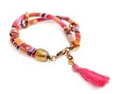 Pink Cord Bracelet, Ethnic Bracelet, Aztec Bracelet, Hippie Jewelry, Tribal Bracelet, Ibiza Style Bracelet, Tassel Bracelet, Layer Bracelet