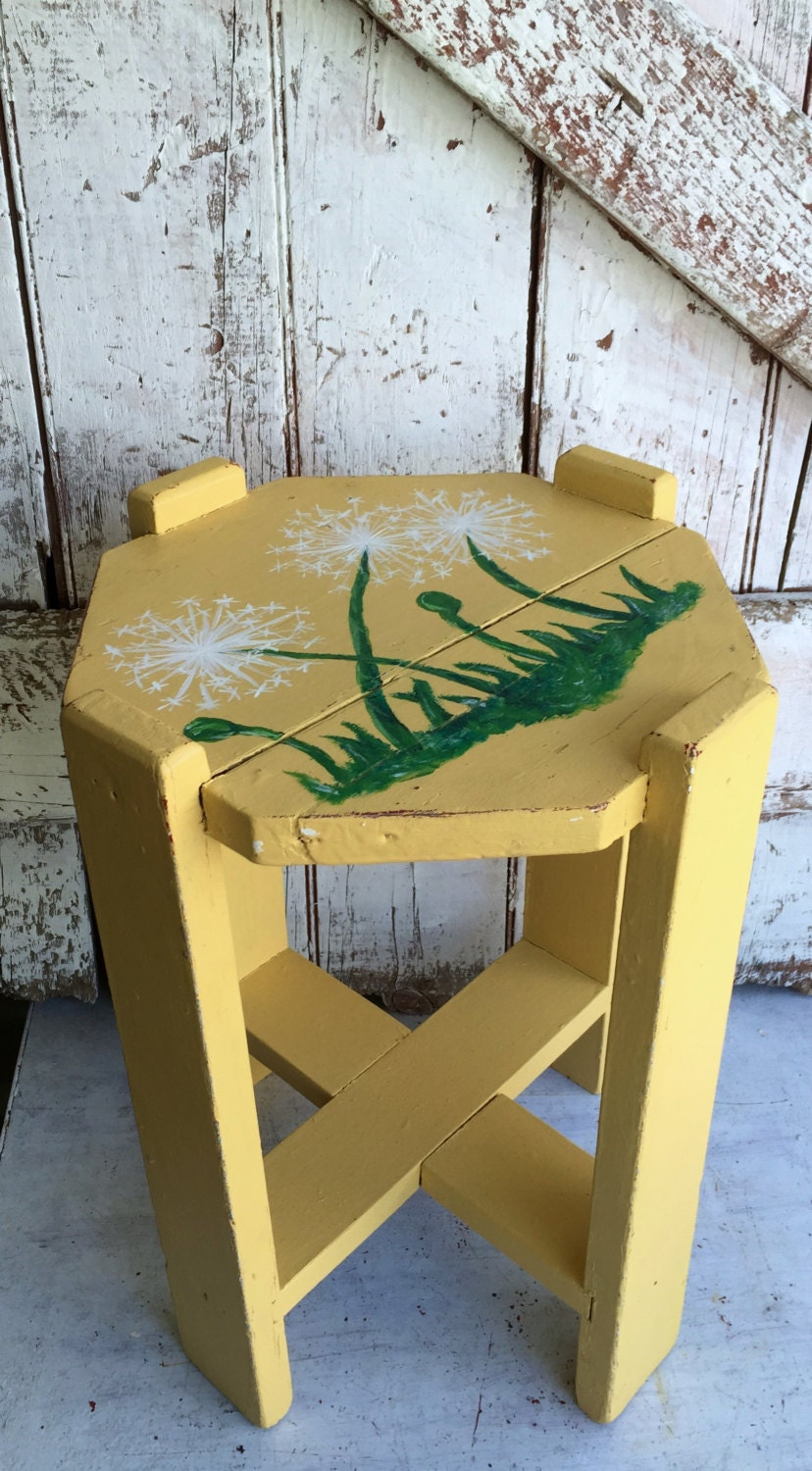 Antique yellow wooden plant stand vintage small parlor table