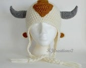 Fun Arrow hat-newborn to adult-Made to order-Sky Bison Airbender Earflap Hat