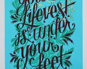 Your Lifevest Is Under Your Feet letterpress print