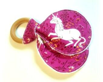 Unicorn Baby Teething Ring, Wooden Teether, Baby Girl, Teething Ring, Purple, Unicorn, Eco-friendly