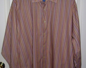 50 CENT SALE Vintage Men's Striped Shirt by Cezani Extra Large Now .50 USD