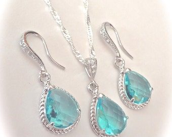 Sea blue necklace and earring set - Sterling Silver - Bridal Jewelry  - Beach wedding jewelry - Something Blue ~ Bridesmaids - Gift -